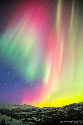 A colourful aurora display over Granite Mountain, south of Delta Junction; Alaska, United States of America - p442m1225066 by Steven Miley