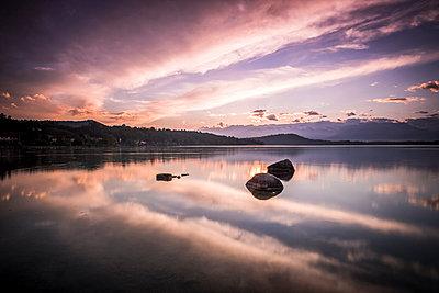 Italy, Lago Viverone at sunset - p300m1449887 by Simona Pilolla