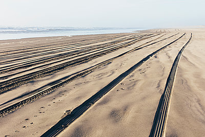 Tire tracks on the soft surface of sand on a beach.  - p1100m2085124 by Mint Images