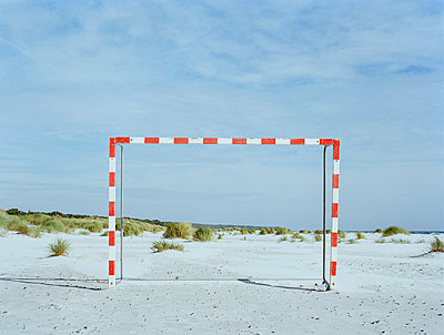 Soccer goal on the beach, Sweden - p1481m2210523 by Peo Olsson