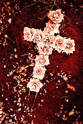 Verblichenes Rosenkreuz aus Stoffblumen - p248m709341 von BY