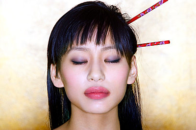 Chopsticks in the hair - p6800159 by Stella Mai