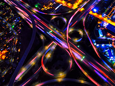 Infinity Intersection, an aerial view of the freeways in Los Angeles.  - p1100m1216197 by Mint Images