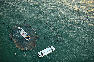 USA, Virginia, Aerial photograph of fisherman hauling in a catch from a pound net in the Chesapeake Bay near Fisherman Island - p300m1180805 by Cameron Davidson