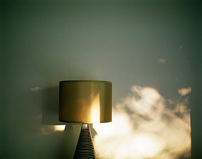 Golden lampshade in evening light - p3882856 by Jim Green