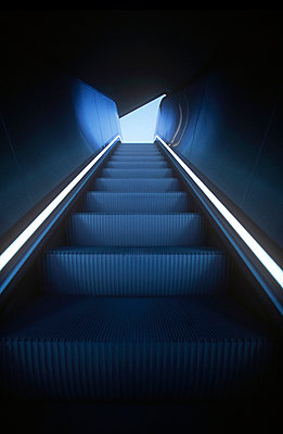 Cold blue escalator - p6570063 by Loic Trujillo