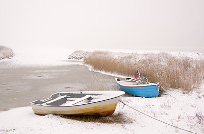 Rowboats in winter - p992m791641 by Carmen Spitznagel