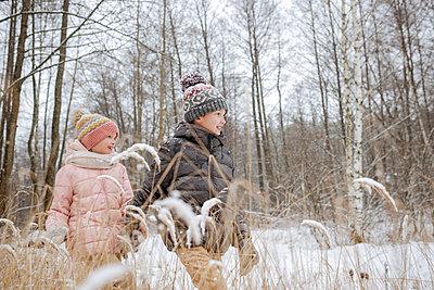 Two siblings walking hand in hand in winter forest - p300m2166987 by Ekaterina Yakunina