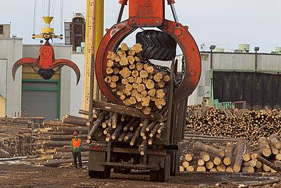 Weyerhaeuser Pulp Mill and Log Yard, Grande Prairie, Alberta, Canada - p343m1107085 by Peter Essick