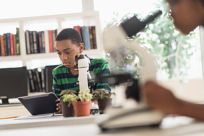Black students using microscopes in science lab - p555m1412297 by JGI/Tom Grill