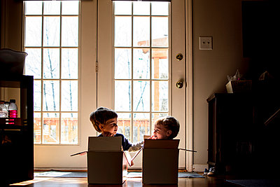 Playful brothers looking at each other while sitting in cardboard box at home - p1166m1186011 by Cavan Images