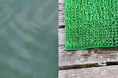 Doormat and lake - p7150068 by Marina Biederbick