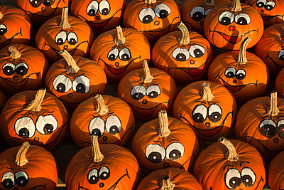 Pumpkins with painted faces - p300m975275f by Ophelia photography