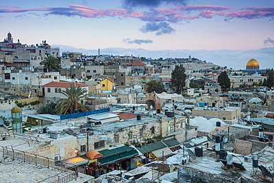 View over Muslim Quarter towards Dome of the Rock, Jerusalem, Israel, Middle East - p871m2068823 by Jane Sweeney