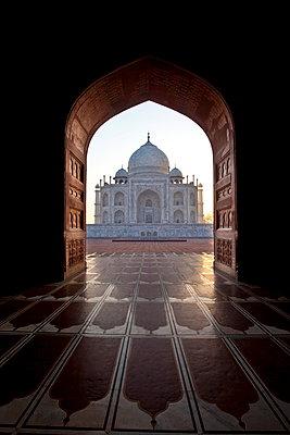 The Taj Mahal mausoleum western view; viewed from Taj Mahal Mosque with its prayer mat floor tiles at dawn; Uttar Pradesh; India - p871m923043 by Tim Graham