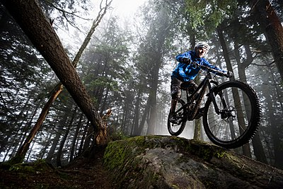 Young male mountain biker riding over forest tree trunk - p429m1079918 by Mike Tittel