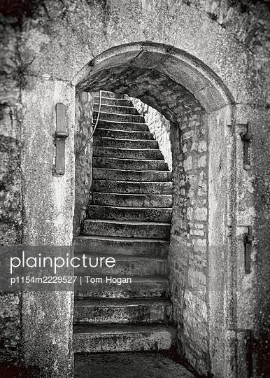 Germany, Bavaria, Würzburg, Stone Stairway with Arch - p1154m2229527 by Tom Hogan