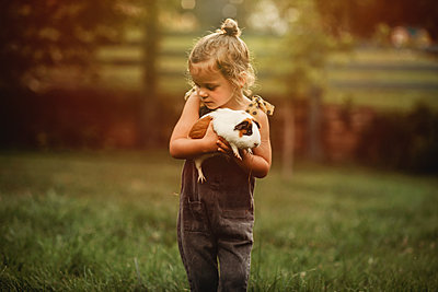 little girl carrying her pet guinea pig - p1166m2130354 by Cavan Images
