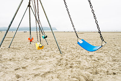 Swingset at the Beach - p1262m1440890 by Maryanne Gobble