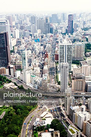 Aereal View of Tokyo - p798m2289450 by Florian Loebermann
