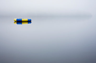 Floatie on foggy lake - p1427m2254883 by Chris Hackett