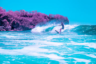 Infrared photography, Surfer  - p1487m2125533 by Ludovic Mornand
