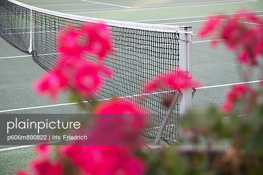 Tennisplatz mit Geranien - p606m890822 von Iris Friedrich