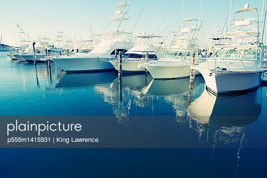 Yachts docked in harbor - p555m1415931 by King Lawrence