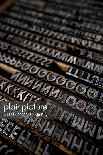 Old Type case, Printing industry - p1523m2090048 by Nic Fey