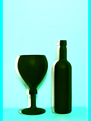 Glass and bottle - p1413m2065488 by Pupa Neumann