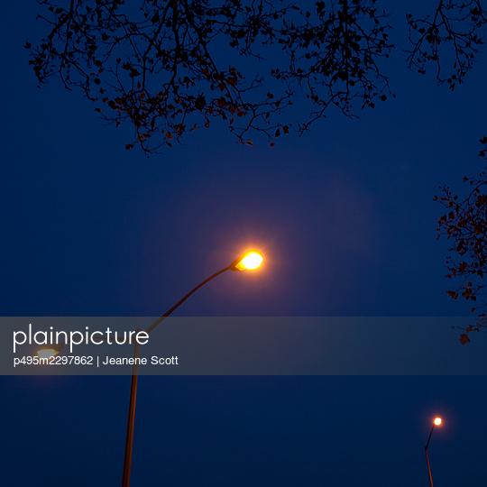 Street lights at night - p495m2297862 by Jeanene Scott