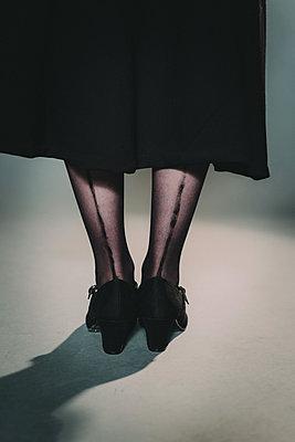 Young woman wearinh nylons - p1184m1424768 by brabanski