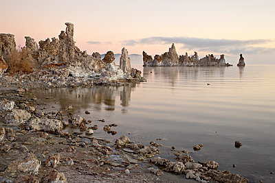 Tufa formations at sunrise, Mono Lake, California, United States of America, North America - p871m1073398f by James Hager