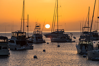 Boats moored at sunset - p555m1305241 by Steve Smith