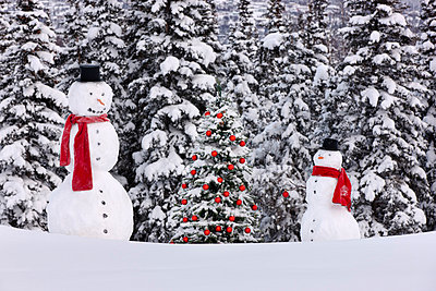 Photo of adult and child snowmen wearing red scarves and black top hats standing next to a Christmas tree with red ornaments in front of a snowcovered spruce forest, Anchorage, Southcentral Alaska, Winter - p442m838398 by Kevin Smith
