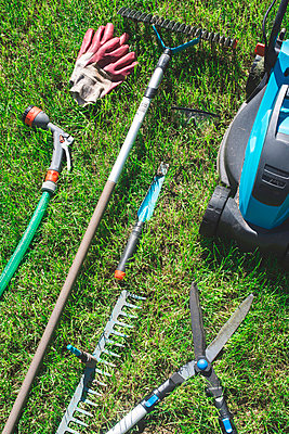 Gardening tools on a meadow - p300m998272f by Deyan Georgiev