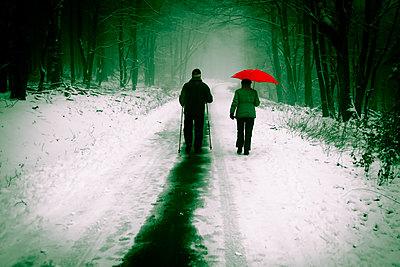 Paar mit Regenschirm im Wald  - p979m1497960 von Martin Kosa