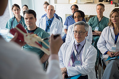 Doctor leading seminar explaining model to audience - p1192m1107944f by Hero Images