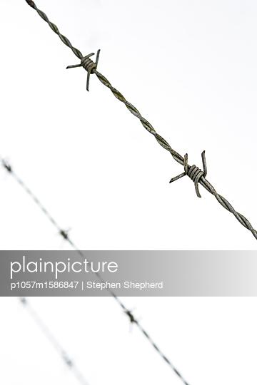 Stacheldraht vor Schnee - p1057m1586847 von Stephen Shepherd