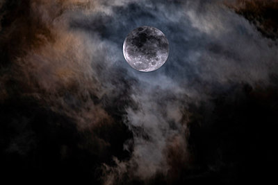 Full Moon behind clouds - p1427m2283090 by Tom Grill