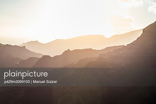 Mountain range. South west coast of Gran Canaria, Mogan, Canary Islands, Spain - p429m2069103 by Manuel Sulzer