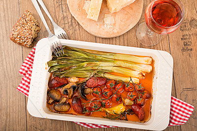 Mediterranean low carb dish with Chorizo sausage and vegetables - p300m950282f by Carmen Steiner