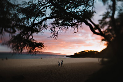 Girls on the Beach at Sunset - p1389m1481693 by Summer Murdock
