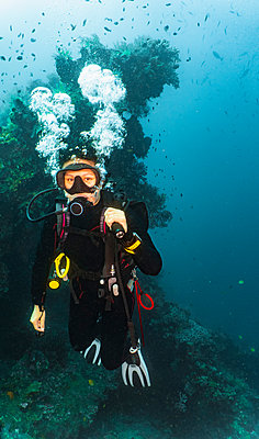Scuba diver at wreck of USAT Liberty, Tulamben, Bali, Indonesia - p924m2068312 by Henn Photography