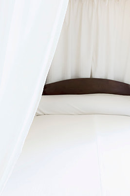 Bed with White Linens - p1331m1169247 by Margie Hurwich