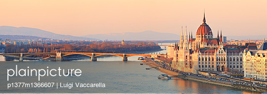 View from Buda Castle over the Danube river, Chain Bridge (Szechenyl Lanchid) and Parliament - p1377m1366607 by Luigi Vaccarella