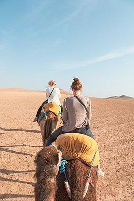 Morocco, women riding camels in the desert - p300m2028927 von Michael Malorny