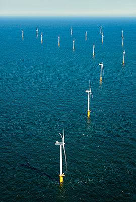 Offshore wind farm in the Borselle windfield, aerial view, Domburg, Zeeland, Netherlands - p924m2127212 by Mischa Keijser