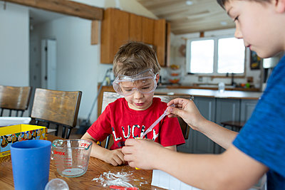 Brothers working together on science experiment at home - p1166m2269669 by Cavan Images