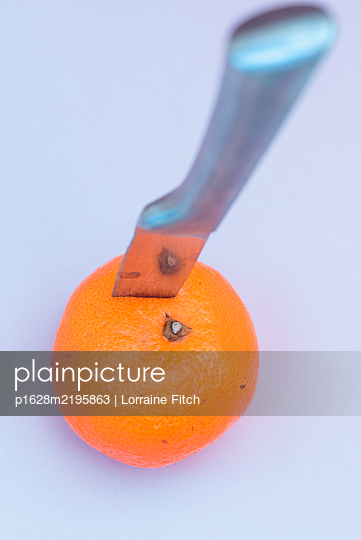 Knife through an orange - p1628m2195863 by Lorraine Fitch